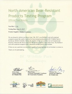 Bear Resistant Certification - GRIZZLY 061517