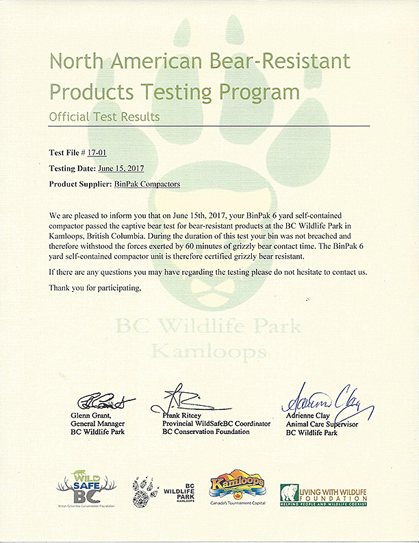 Grizzy bear certificate