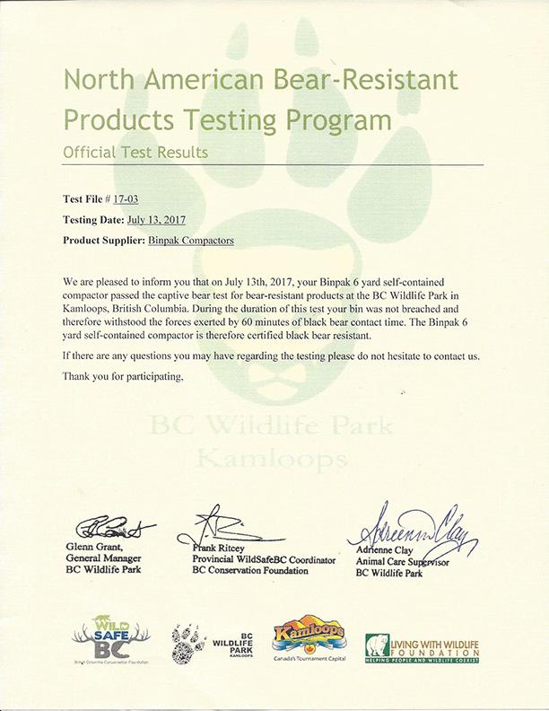 Bear-resistant Certificate